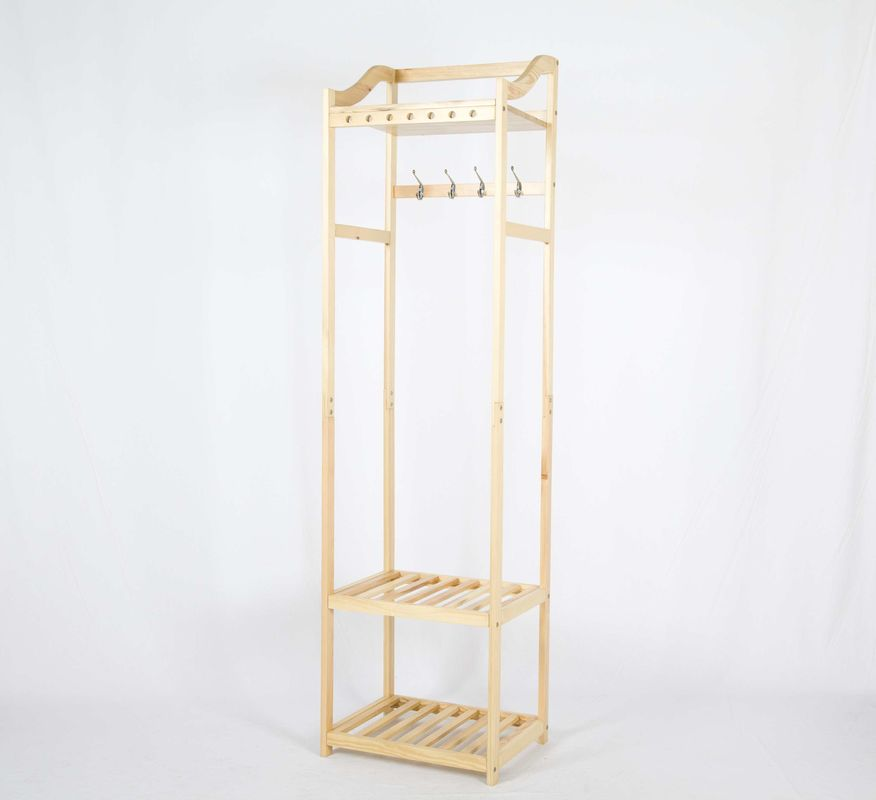 Nature Wooden Garments Hanger Rack With 2 Storage Shelves W50*D38*H180CM
